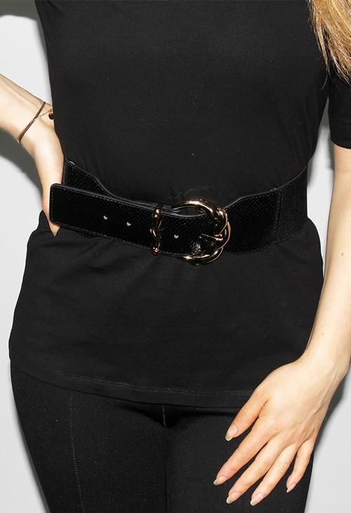 PS Accessories Gold Buckle Belt in Black