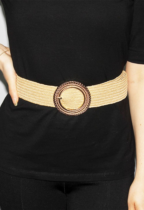 PS Accessories Gold Ring Buckle Belt in Toasted Wicker