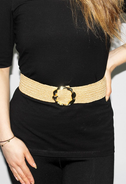 PS Accessories Twisted Buckle Belt in Toasted Wicker
