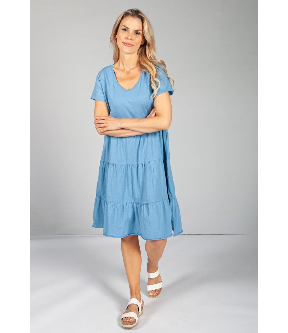 Sophie B Cornflower Blue Tiered Dress