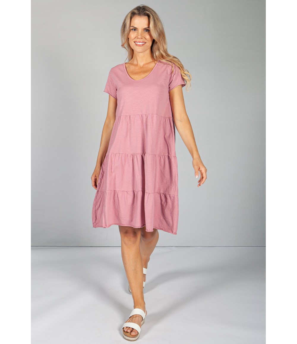 Sophie B Dusted Rose Tiered Dress