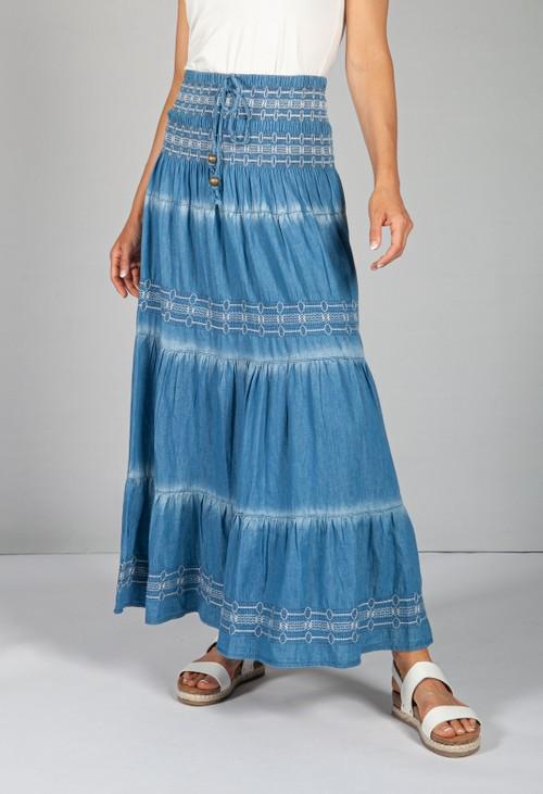 Pamela Scott Multi-Wear Boho Denim Skirt with White Stitching