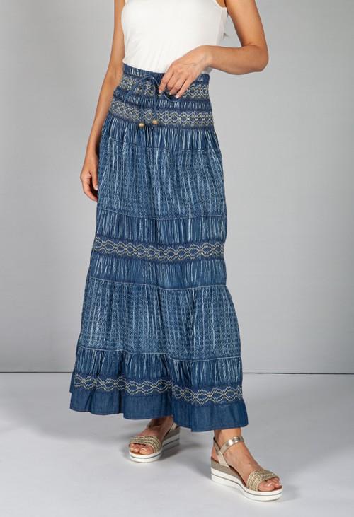 Pamela Scott Multi-Wear Boho Denim Skirt with Navy Stitching