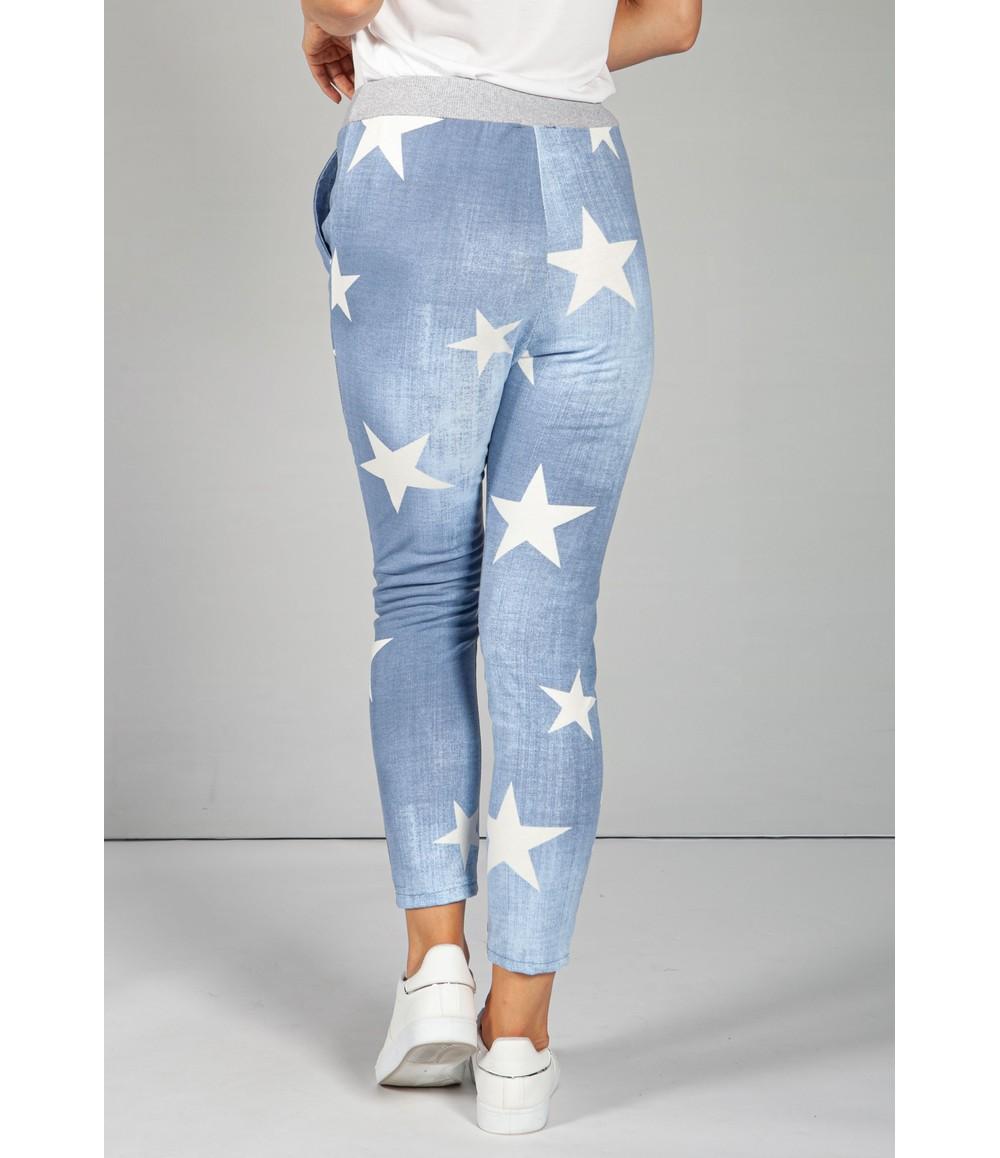 Zapara Mid Blue Star Design Joggers