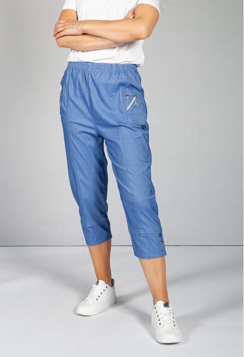 Pamela Scott Cargo Style Capri Pant in Faux Denim