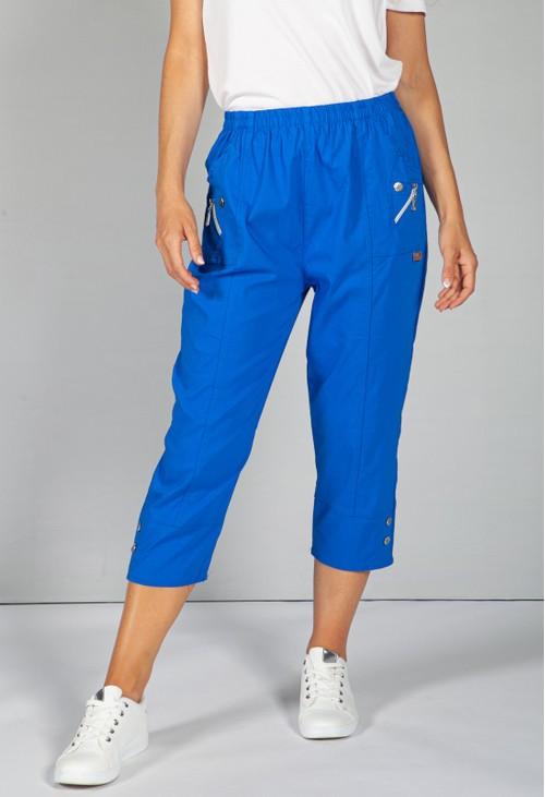 Pamela Scott Cargo Style Capri Pant in Electric Blue