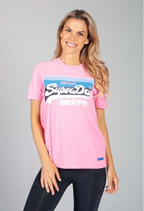 Superdry Vintage Logo Cali Lightweight T-Shirt in Fluro Pastel Pink