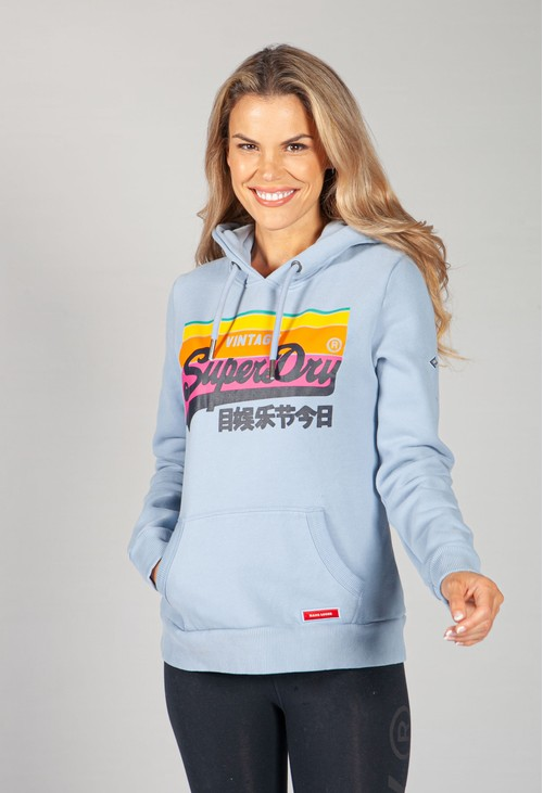 Superdry Vintage Logo Cali Hoodie in Forever Blue