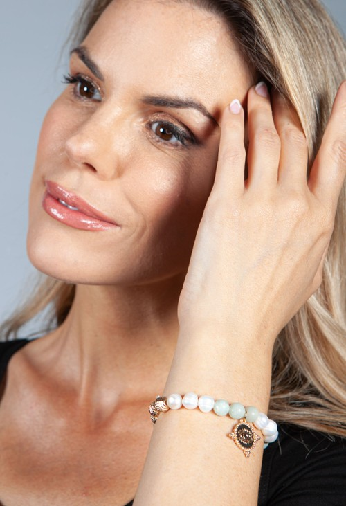 PS Accessories Jade Beaded Charm Bracelet