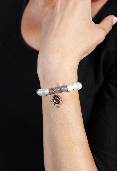 PS Accessories Grey Beaded Charm Bracelet