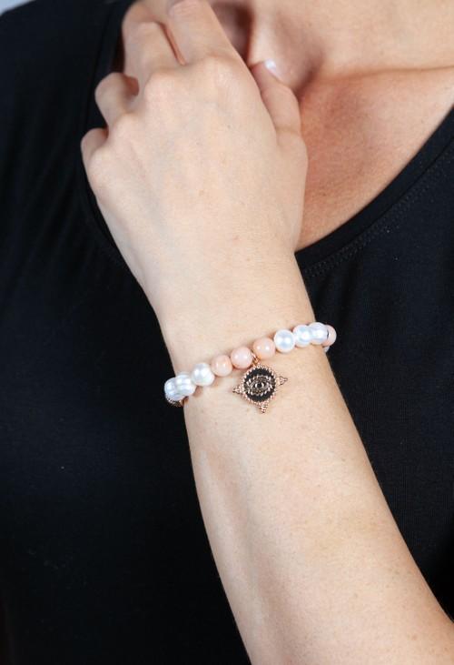 PS Accessories Antique Pink Beaded Charm Bracelet