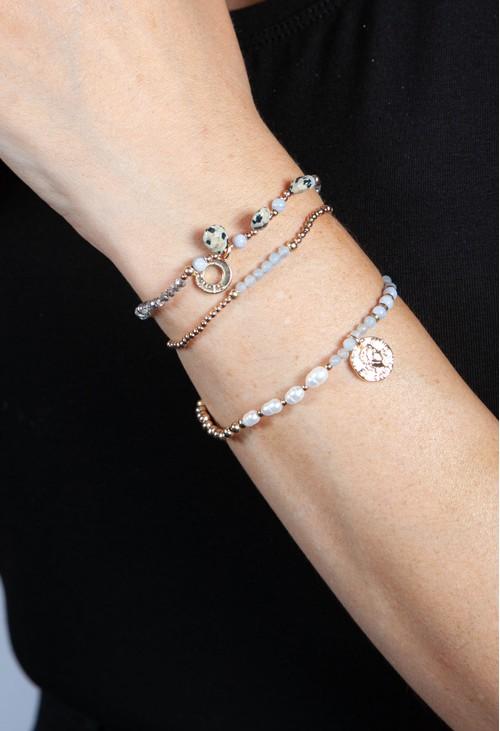PS Accessories Grey Multi Beaded Bracelet