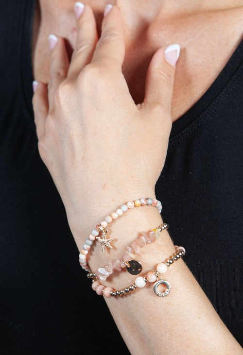 PS Accessories Coral Multi Beaded Bracelet
