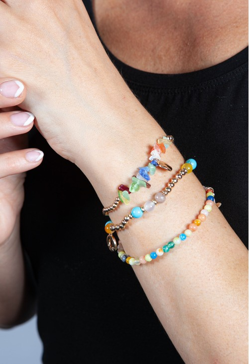 PS Accessories Coloured Multi Beaded Bracelet