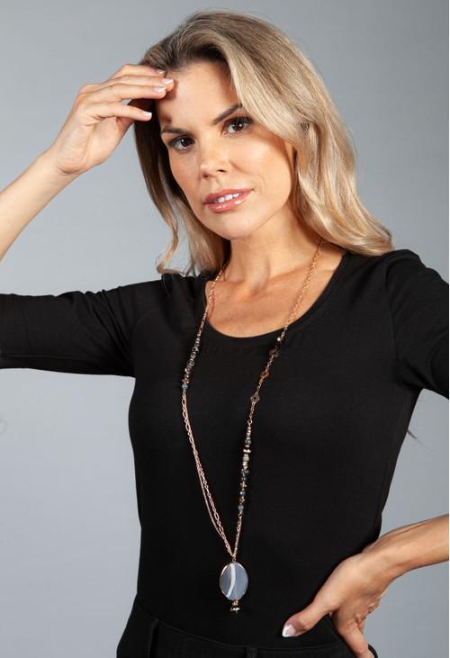 PS Accessories Black Pendant Necklace