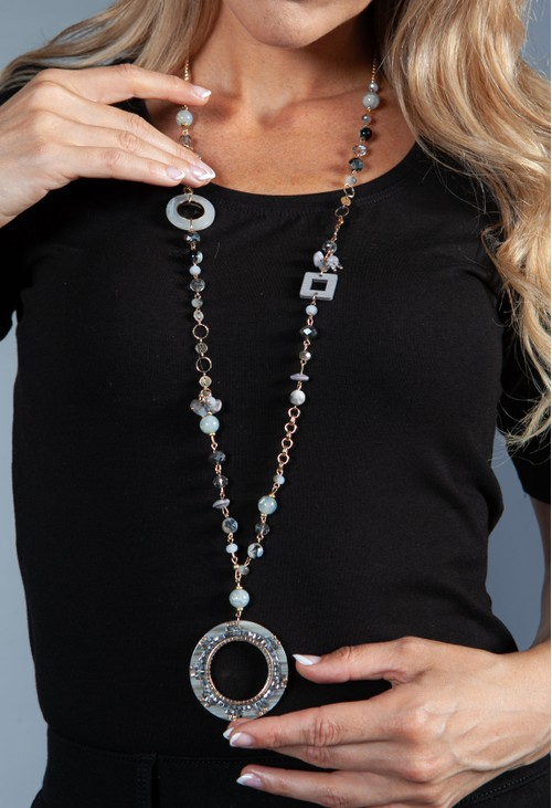 PS Accessories Grey Ring Pendant Necklace