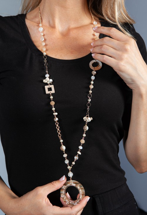 PS Accessories Beige Ring Pendant Necklace