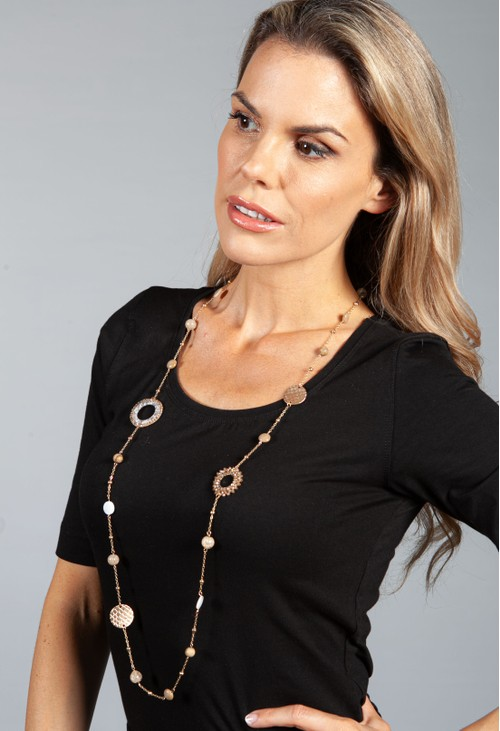 PS Accessories Sea Stone and Ring Detail Necklace