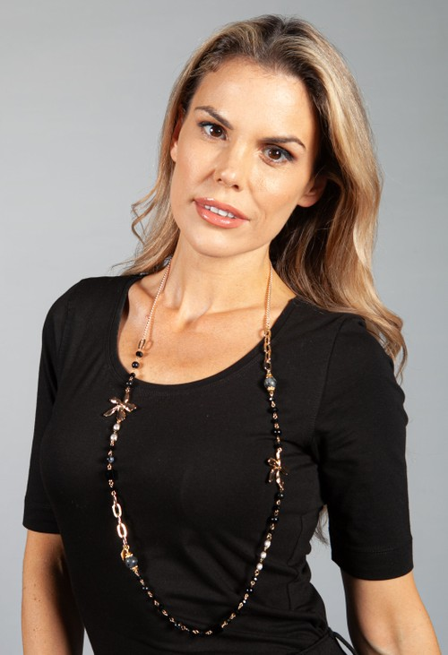 PS Accessories Black Water Floral Necklace