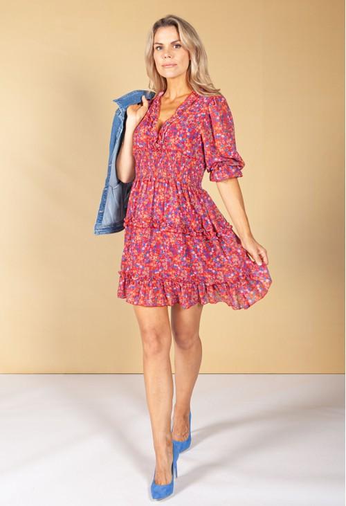 Emporium Wine Ditzy Print Ruffle Dress