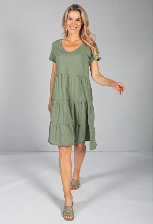 Sophie B KHAKI TIERED DRESS