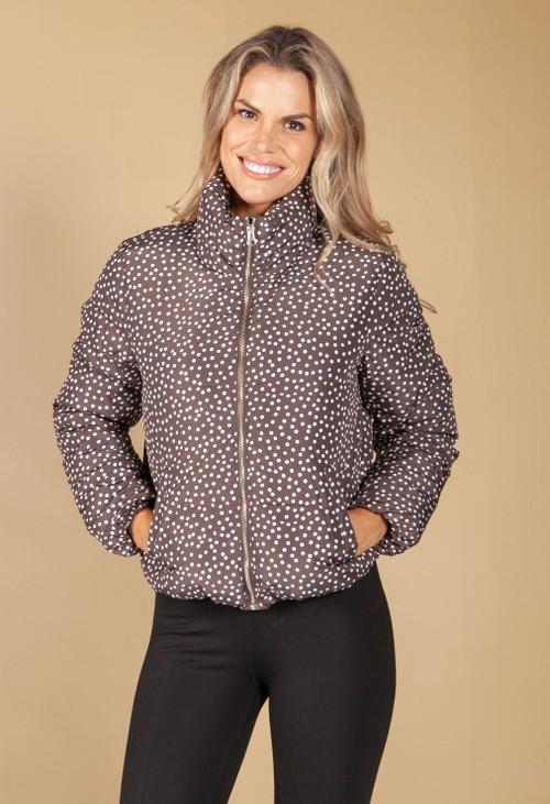 Pamela Scott Chocolate Dot Puffer Jacket
