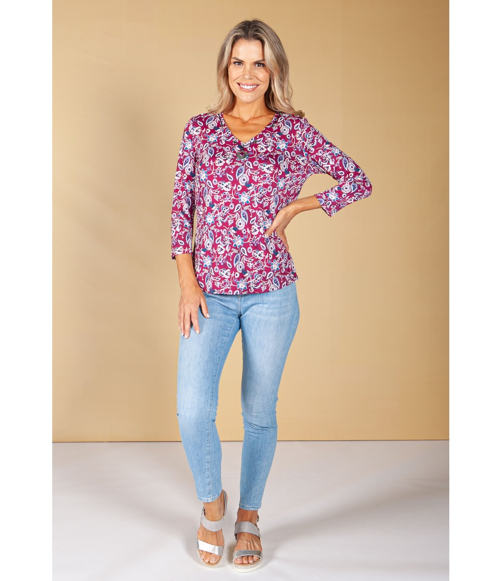 Sophie B Wine Floral Print Top with Necklace Detail