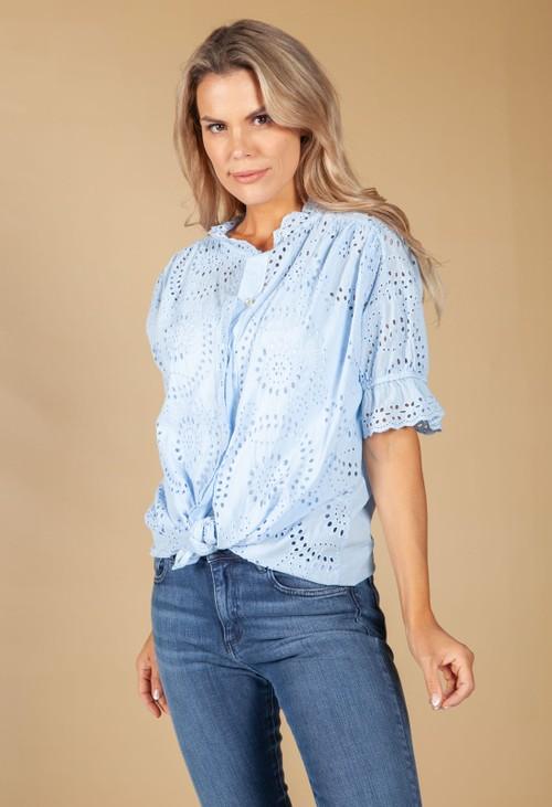 Pamela Scott Embroidered Tie Hem Blouse in Sky Blue