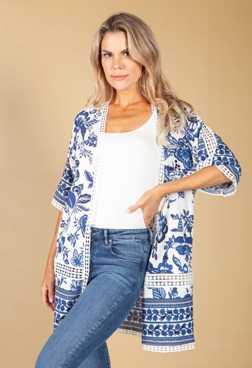 Pamela Scott Floral Print Kimono Style Cardigan in Navy and Off-White