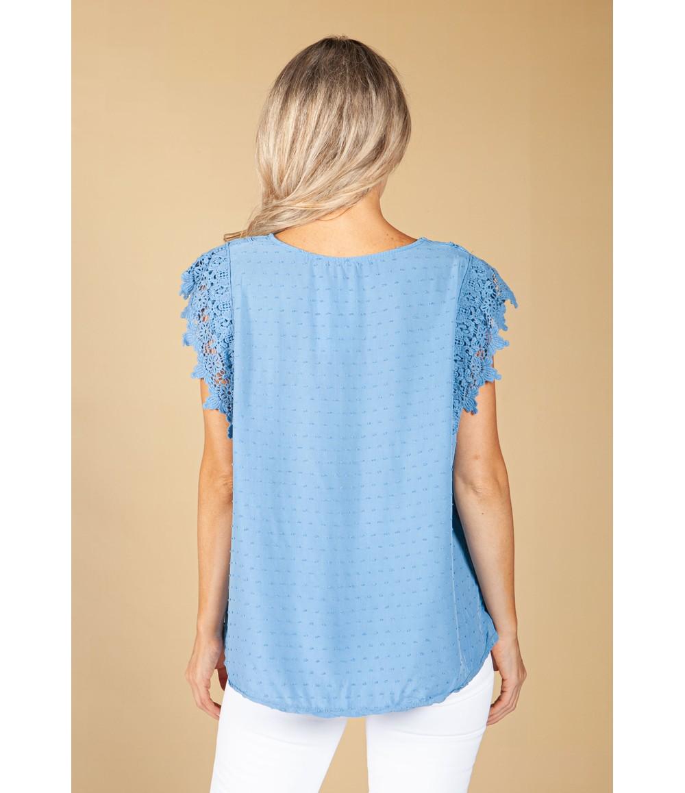 Pamela Scott Lace Border Blue Blouse