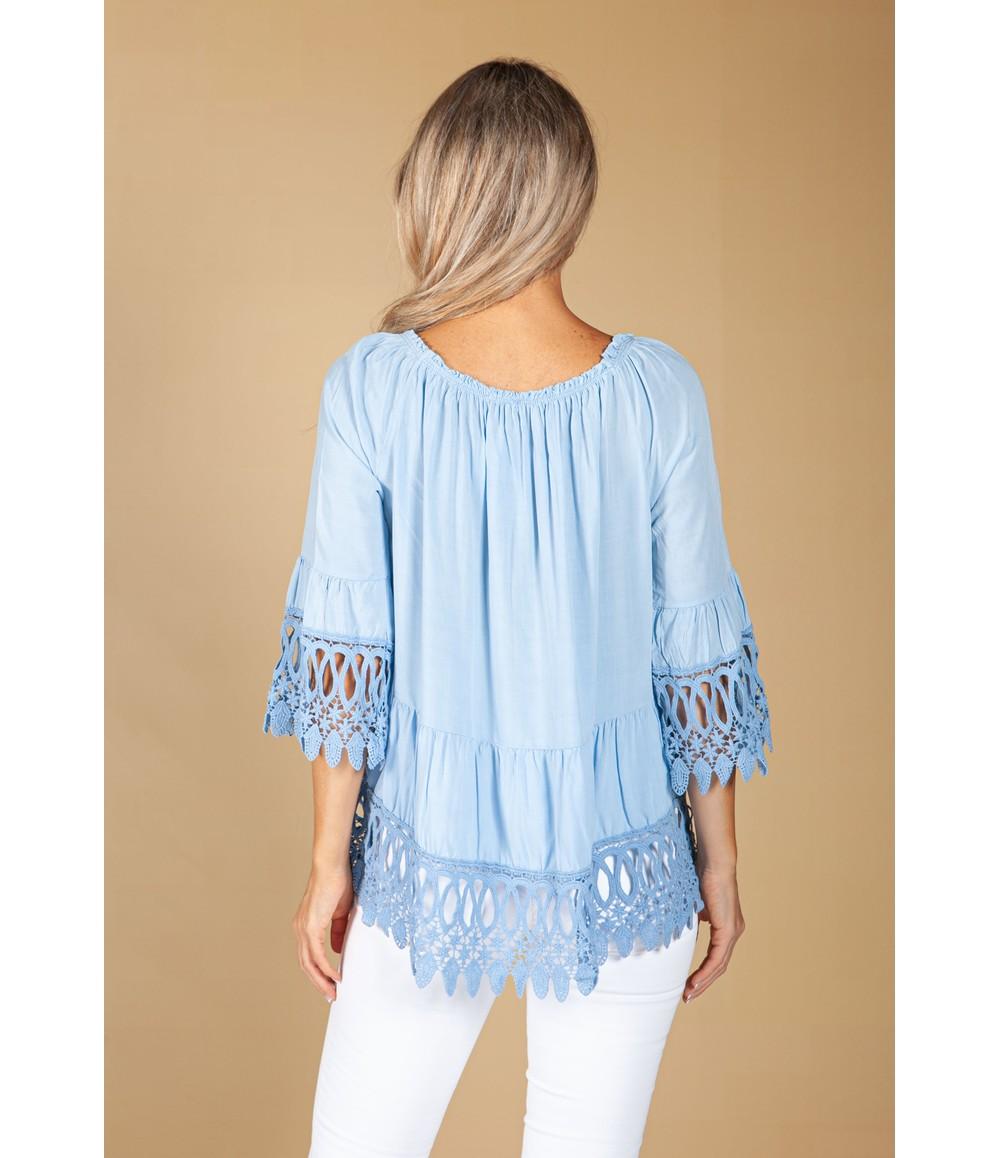 Pamela Scott Embroidered Blue Blouse