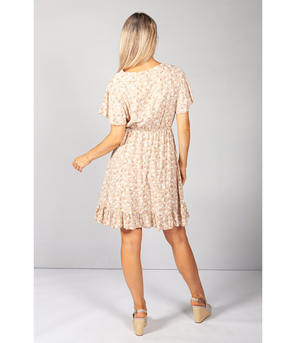 Pamela Scott Beige Floral V-Neck Dress