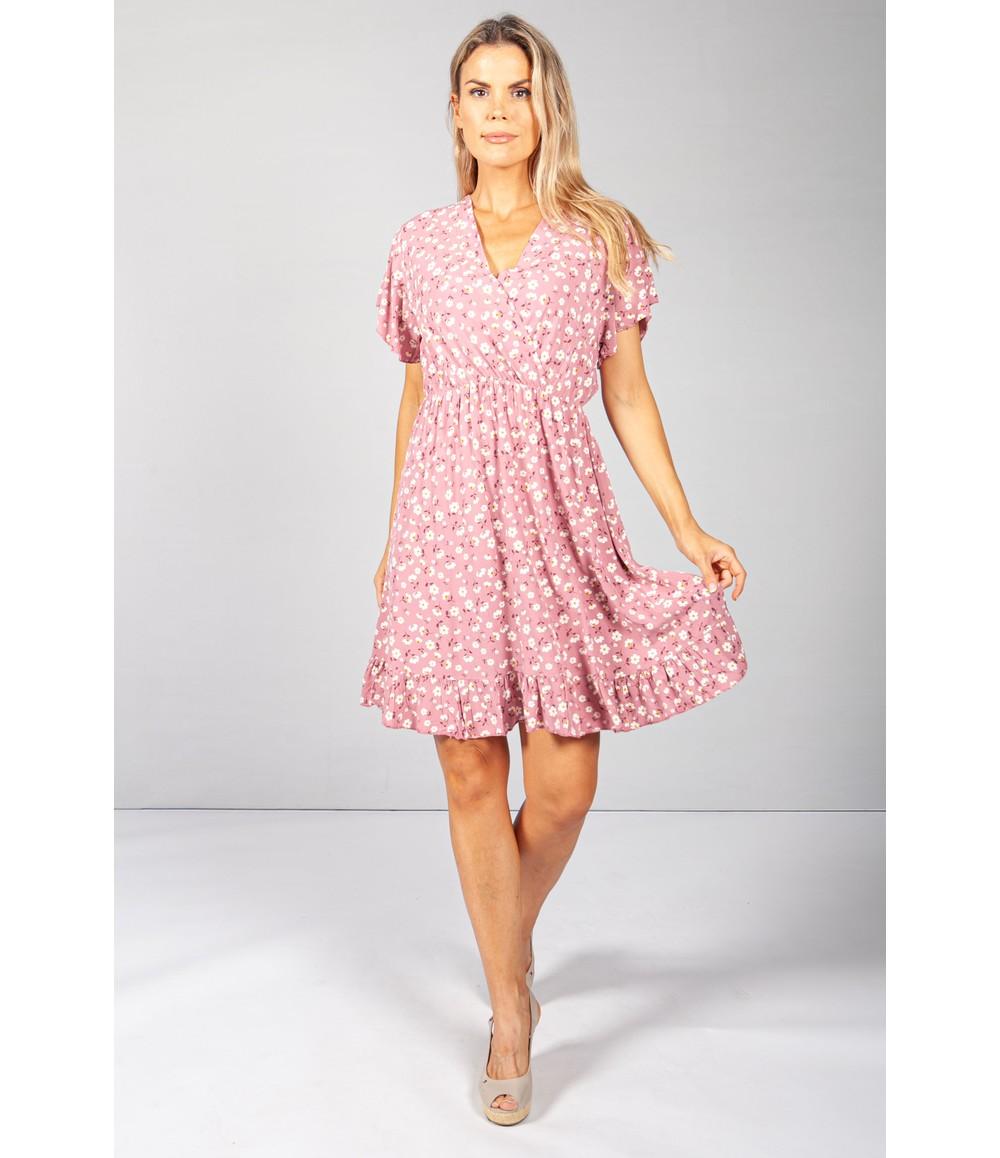 Pamela Scott Pink Floral V-Neck Dress