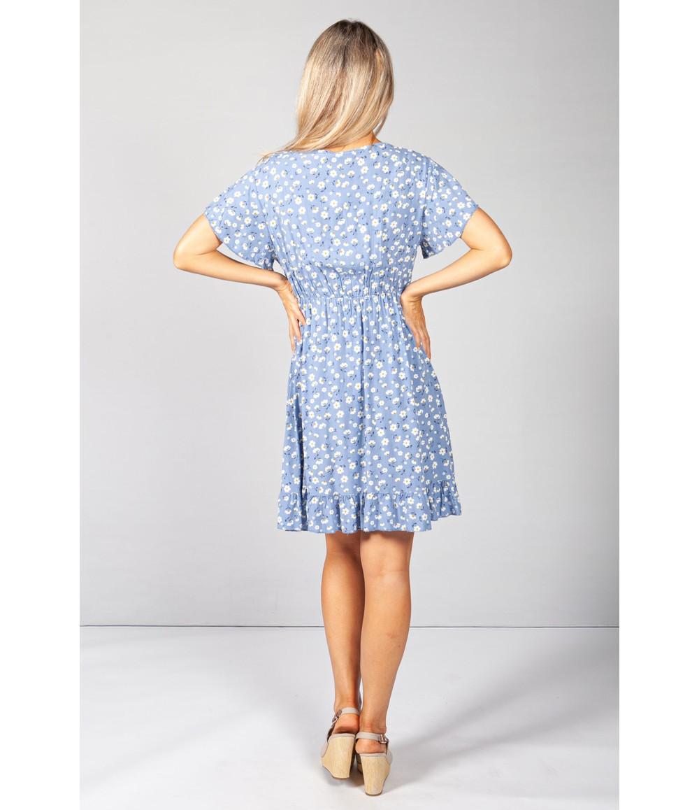Pamela Scott Blue Floral V-Neck Dress