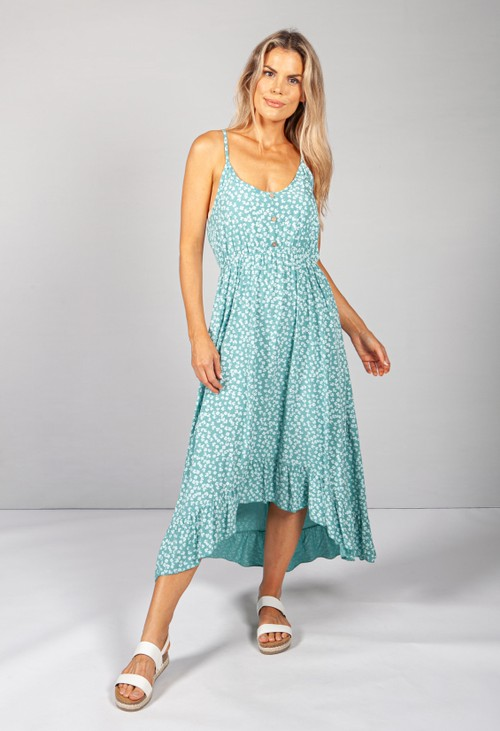 Pamela Scott Strappy Printed Midi Dress in Green