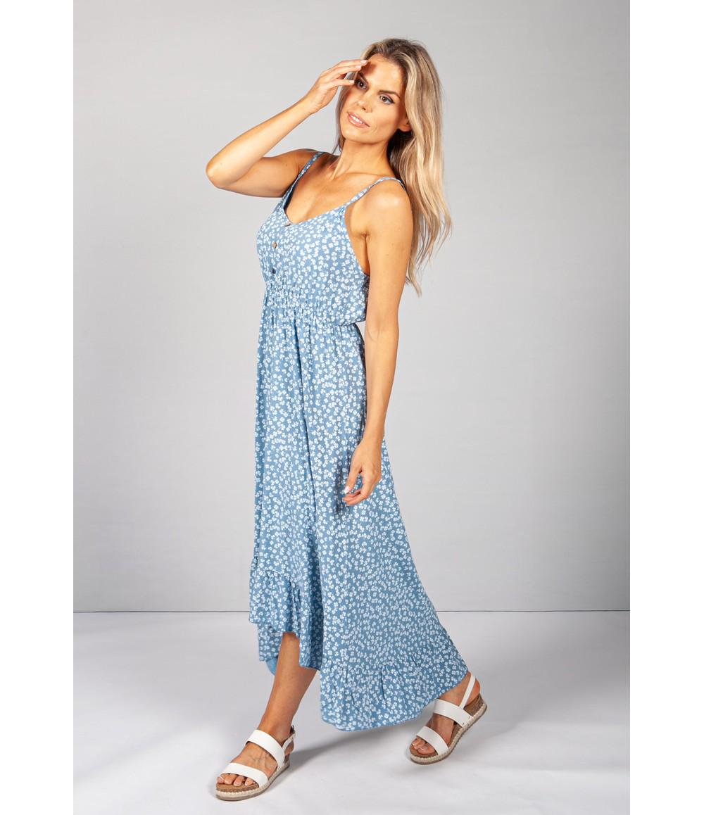 Pamela Scott Strappy Printed Midi Dress in Blue