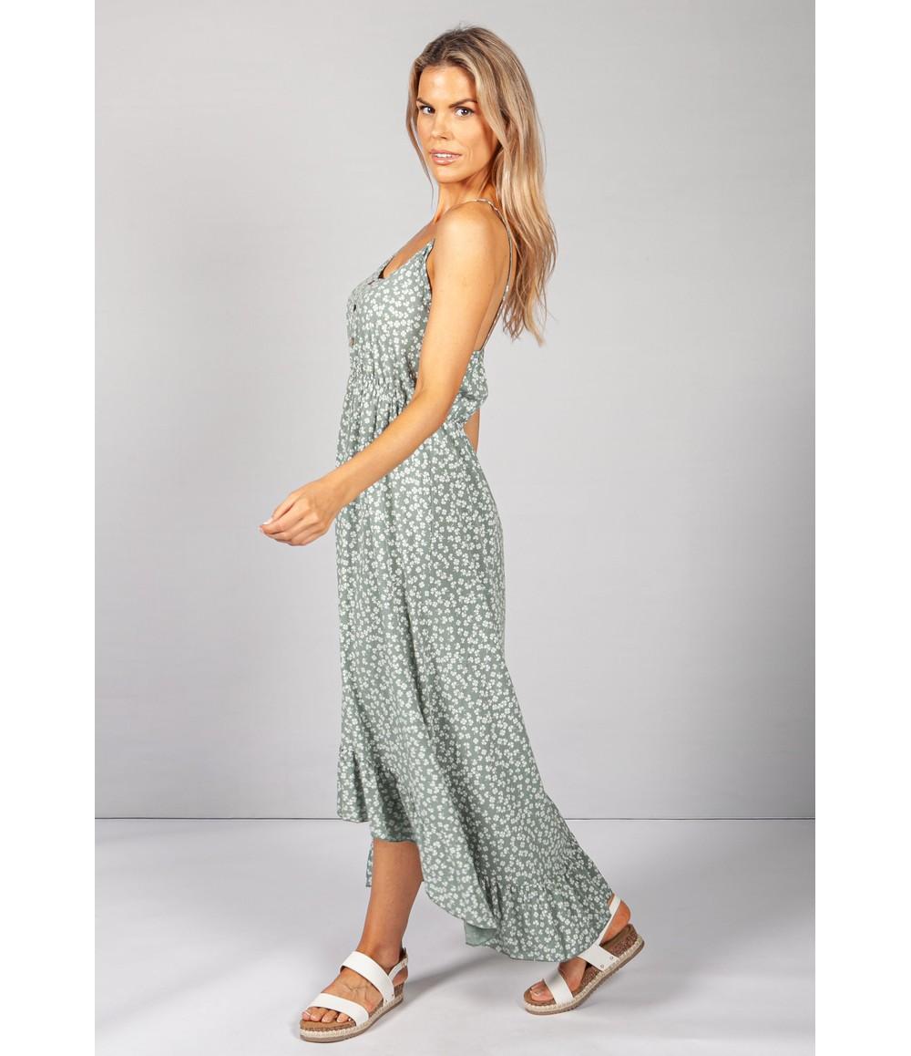 Pamela Scott Strappy Printed Midi Dress in Khaki