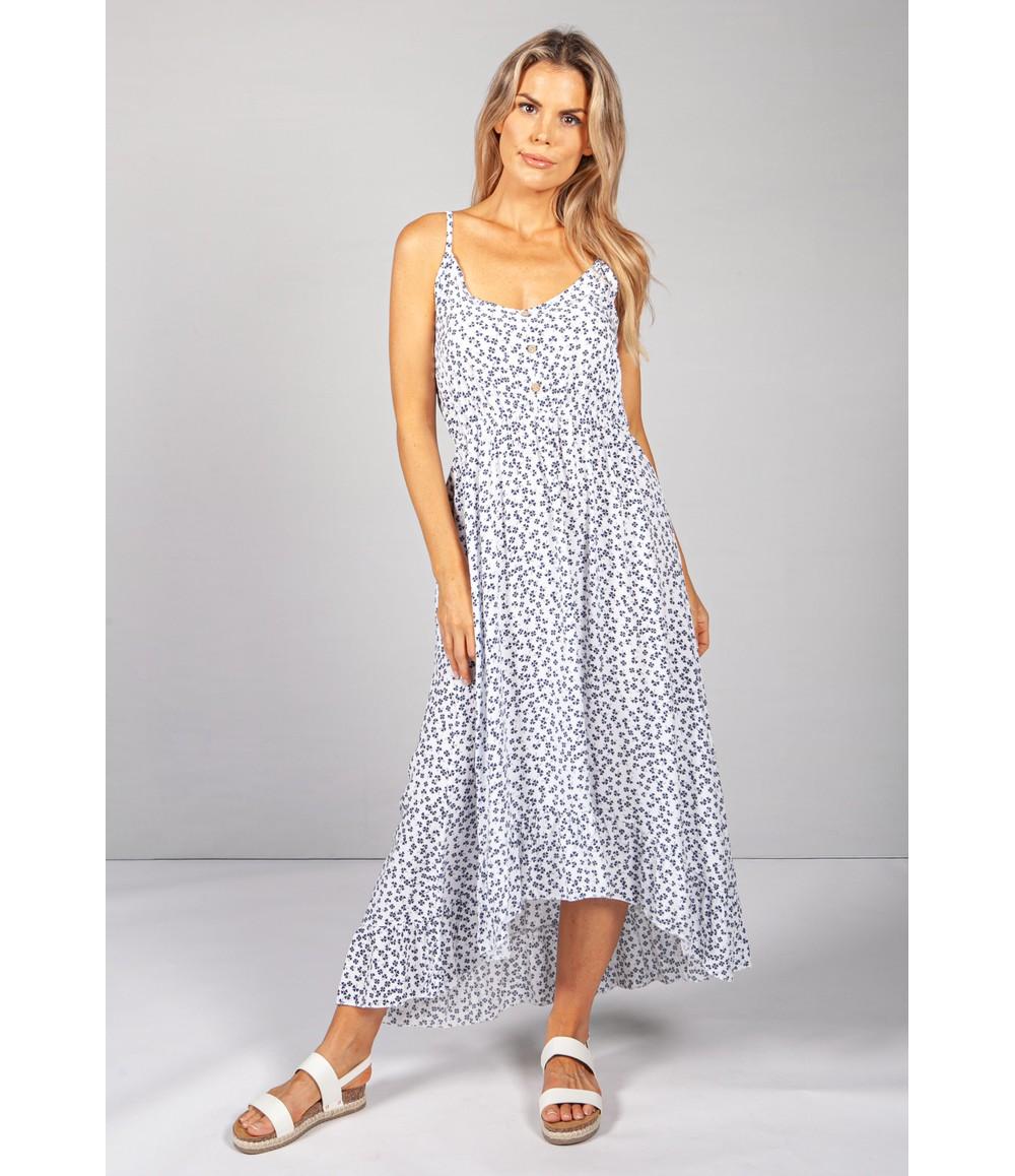 Pamela Scott Strappy Printed Midi Dress in White/Navy