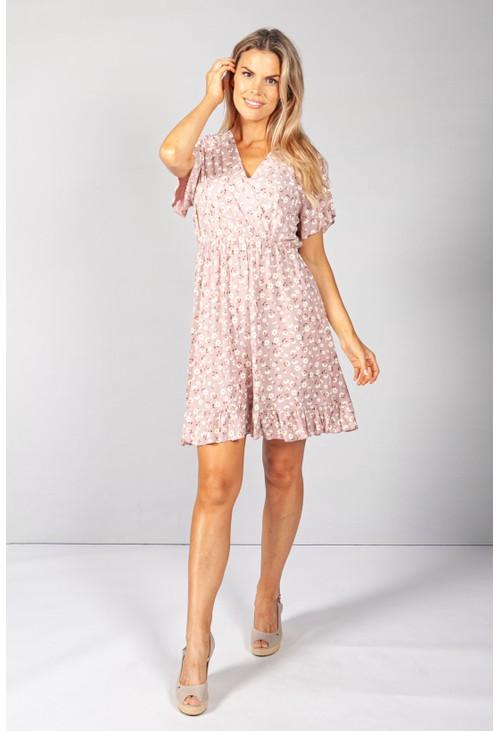 Pamela Scott Rose Floral V-Neck Dress