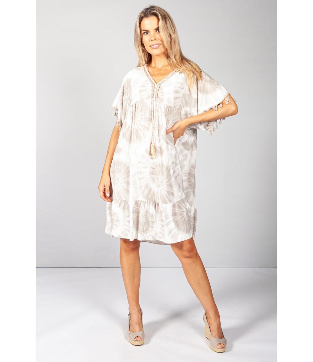 Pamela Scott Sand Boho Tie Dye Dress