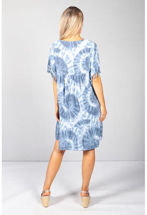 Pamela Scott Blue Boho Tie Dye Dress