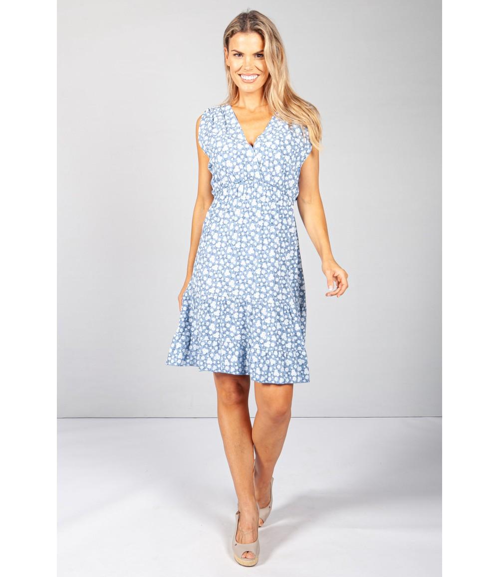 Pamela Scott Short Floral Dress in Blue