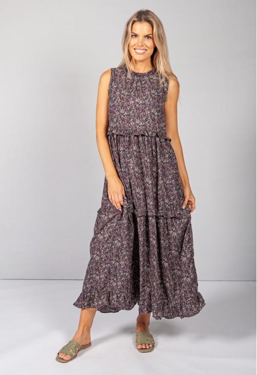 Pamela Scott Dark Lilac Ruffle Tiered Dress