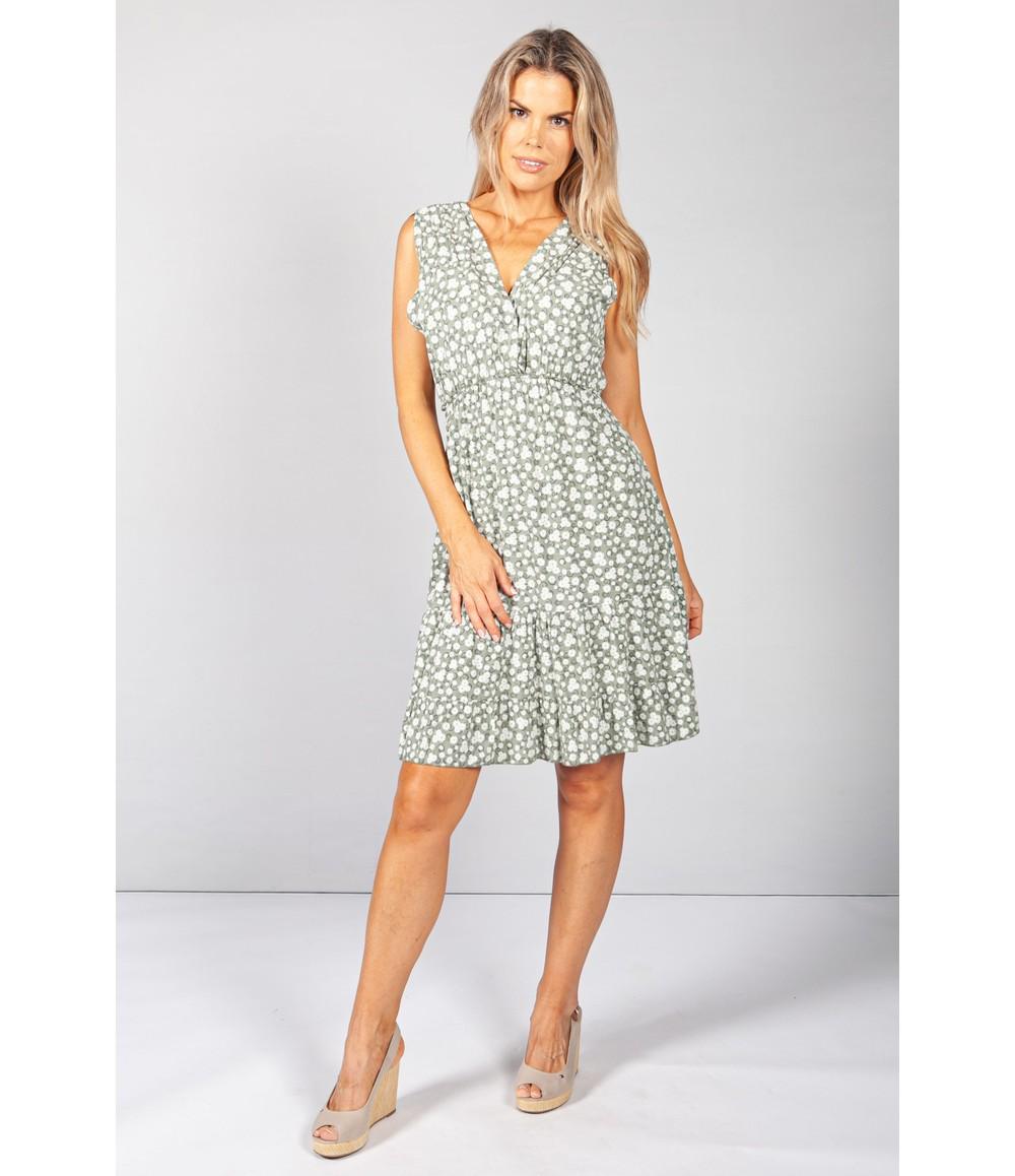 Pamela Scott Short Floral Dress in Khaki