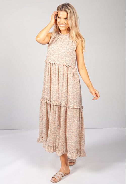 Pamela Scott Beige Print Ruffle Tiered Dress