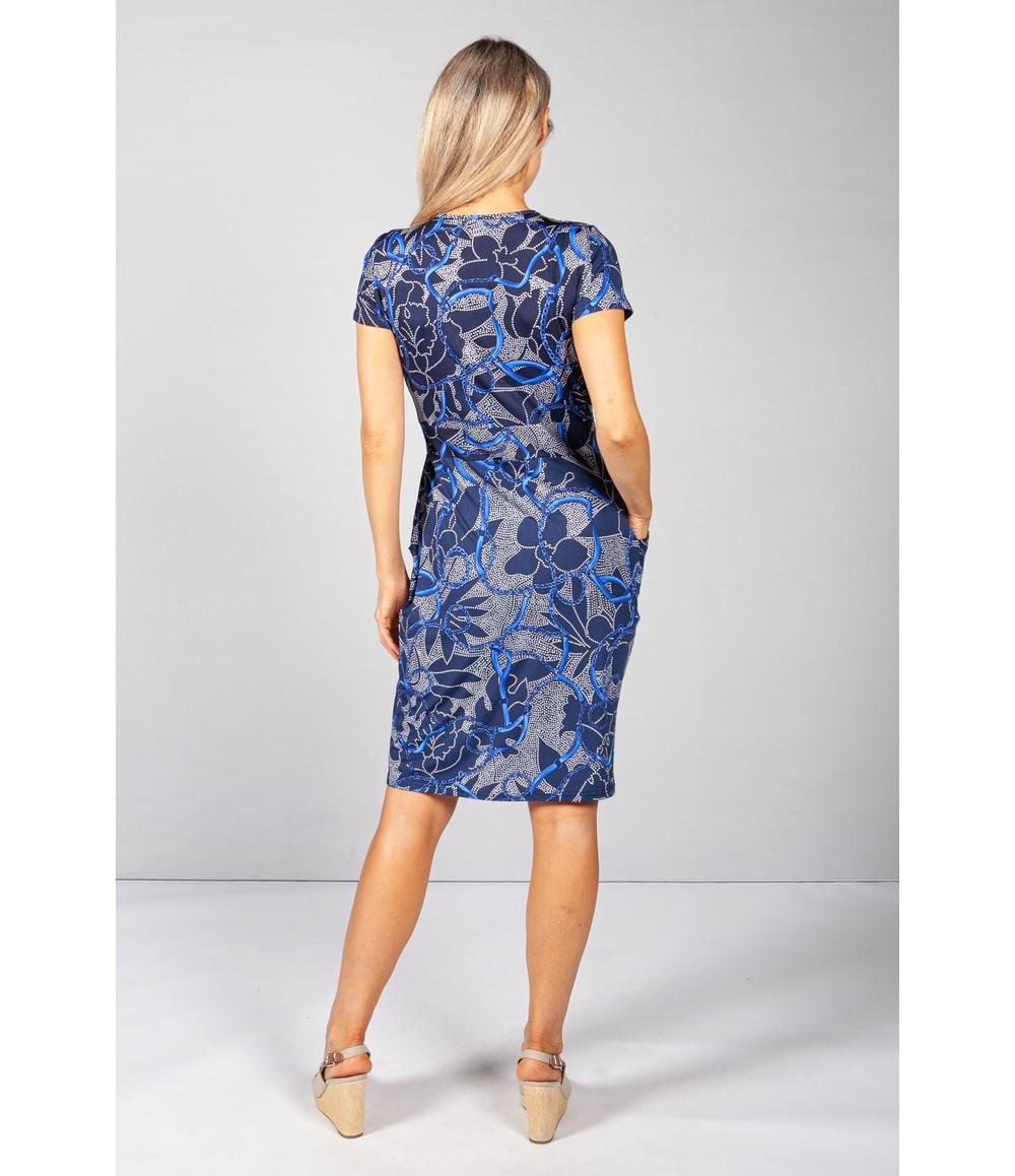 Zapara Royal Blue Print V-Neck Dress