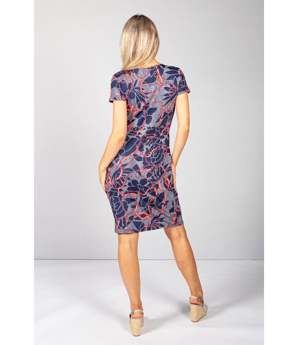 Zapara Navy Print V-Neck Dress