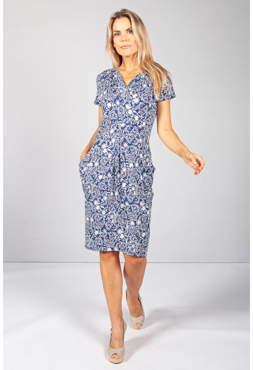 Zapara Navy & White Vine Floral Print Dress