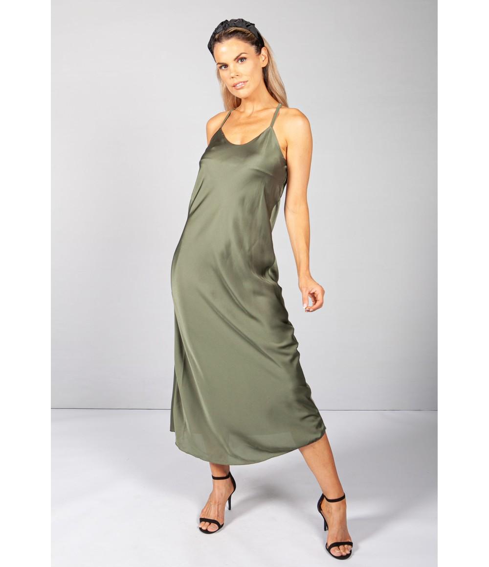 Pamela Scott Green Slip Dress