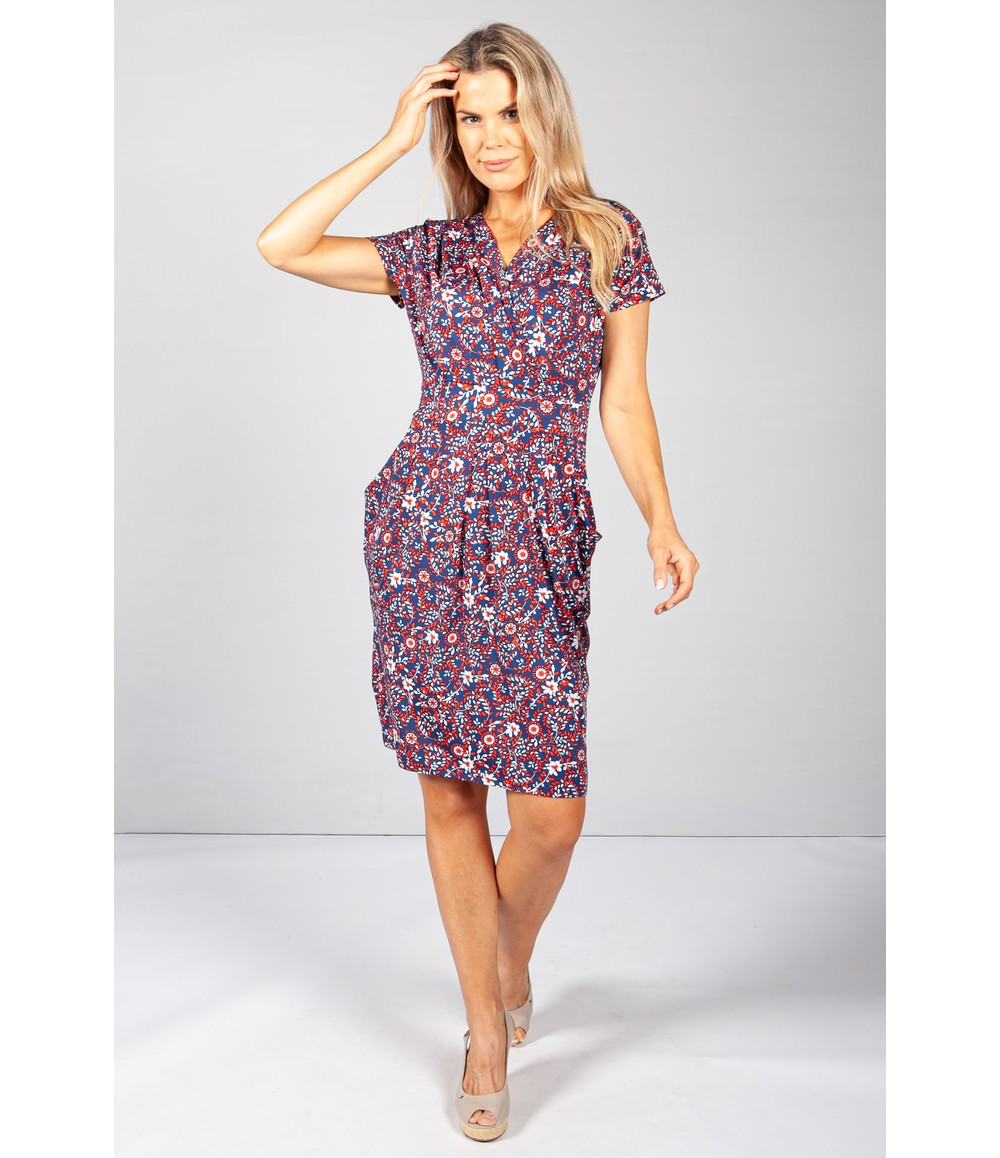 Zapara Navy & Red Vine Floral Print Dress